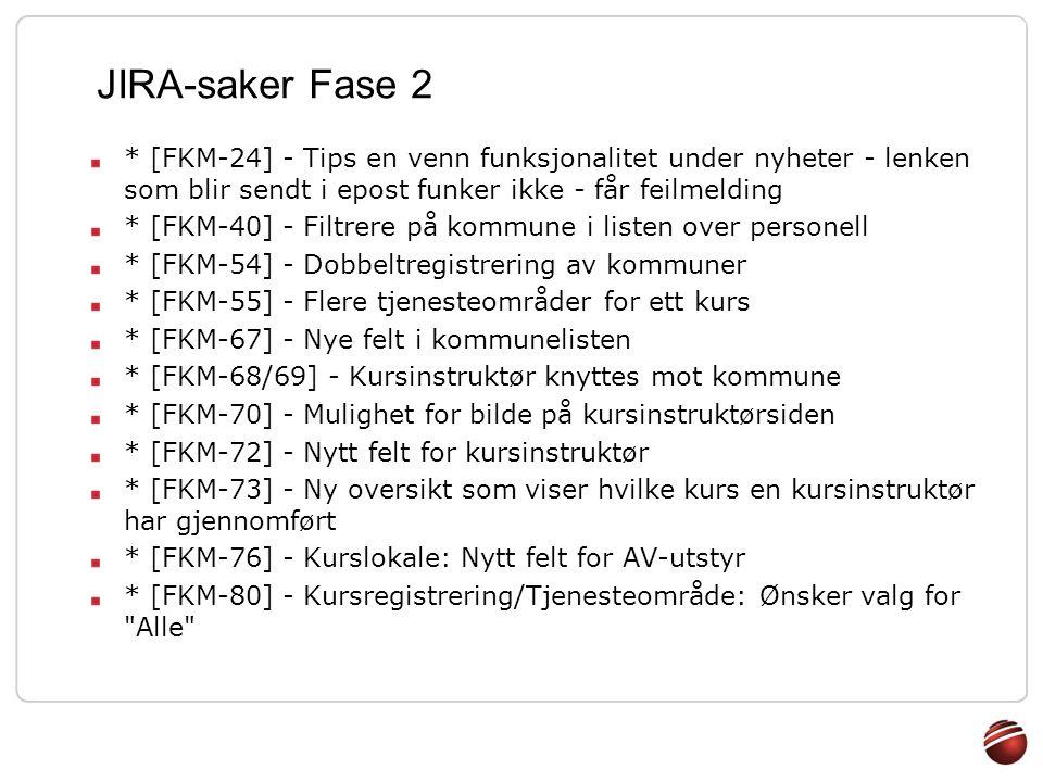 JIRA-saker Fase 2 * [FKM-24] - Tips en venn funksjonalitet under nyheter - lenken som blir sendt i epost funker ikke - får feilmelding.